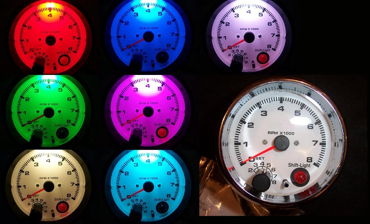 3 34 tachometer chrome with shift light 7 color sciox Choice Image